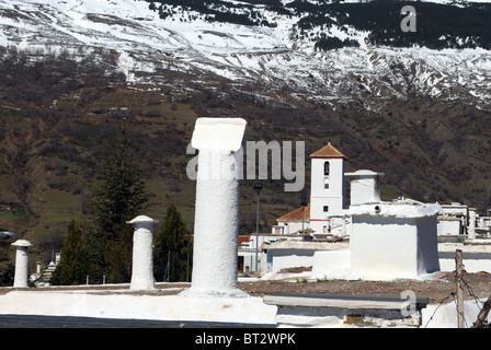 View over town rooftops, Capileira, Las Alpujarras, Granada Province, Andalucia, Spain, Western Europe. - Stock Photo