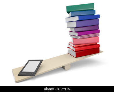 Capacity competition - ebook reader compared to traditional paper books. 3D rendered illustration - Stock Photo