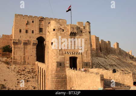 Entrance to the citadel of Aleppo, Syria - Stock Photo