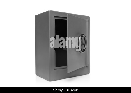 A view of a grey empty safety deposit safe - Stock Photo