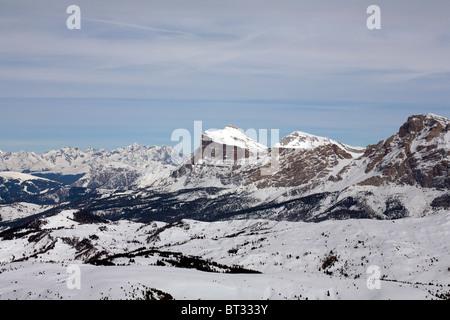 Massive limestone cliffs, from Corvara, Dolomites,  Alto Adige,  Trentino,Italy - Stock Photo