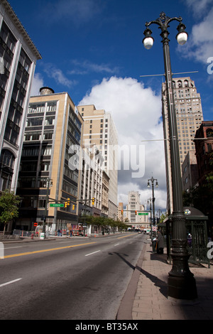 Woodward Avenue looking north Detroit Michigan - Stock Photo