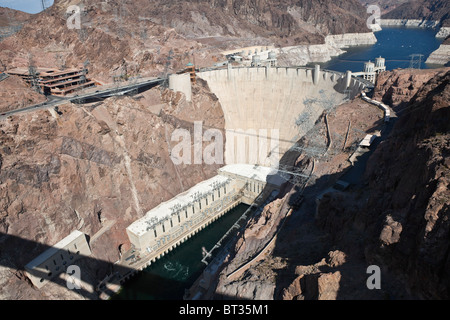 View of Historic Hoover Dam from the newly opened Bypass Highway Bridge. - Stock Photo