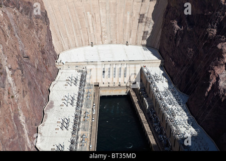 Hoover dam hydroelectric plant viewed from the newly opened bypass bridge. - Stock Photo