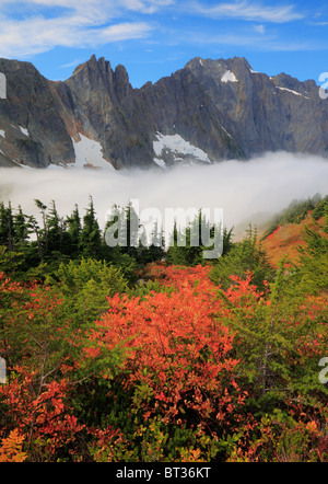 Cascade Pass mountain pass over the northern Cascade Range, in North Cascades National Park in Washington state, - Stock Photo