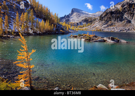 Larch trees at Perfection Lake in the Enchantment Lakes wilderness in Washington state, USA - Stock Photo