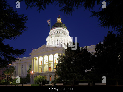 California State Capitol  in Sacramento, California at night - Stock Photo