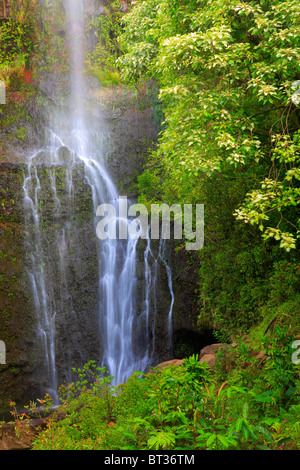 Waterfall along the road to Hana on the north side of Maui in Hawaii, USA - Stock Photo