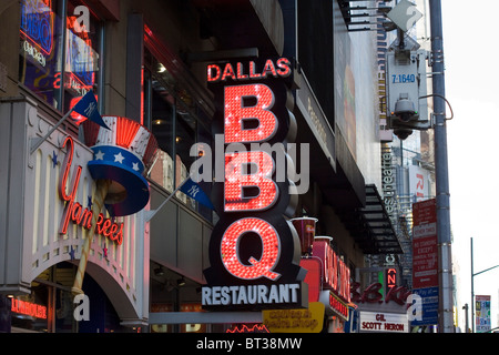 Sign Advertising Famous Take away food in NYC USA - Stock Photo