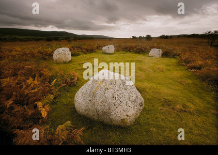 The remains of the Machrie Moor 4 standing stone circle on Machrie Moor, Isle of Arran, Scotland, UK - Stock Photo