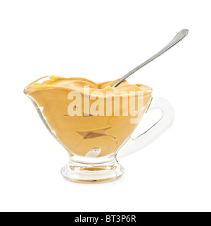 mustard in glass bowl isolated - Stock Photo