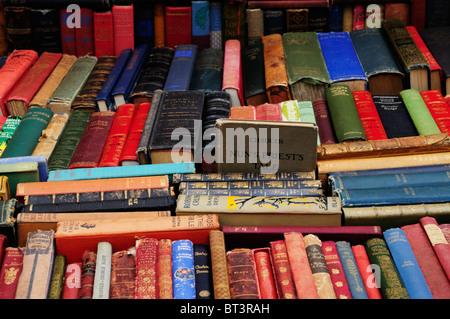 Secondhand book stall on Portobello Road Market, Notting Hill, London, England, Uk - Stock Photo