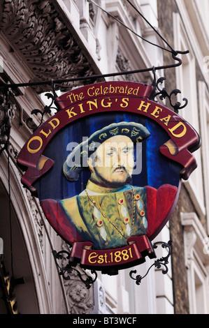 The Celebrated Old King's Head pub sign, Borough High Street, Southwark, London, England, UK - Stock Photo