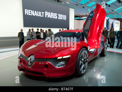 New electric concept Renault Dezir sports car on display at Paris Motor Show 2010 - Stock Photo