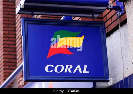 Coral Betting Shop sign logo, London, England, UK - Stock Photo