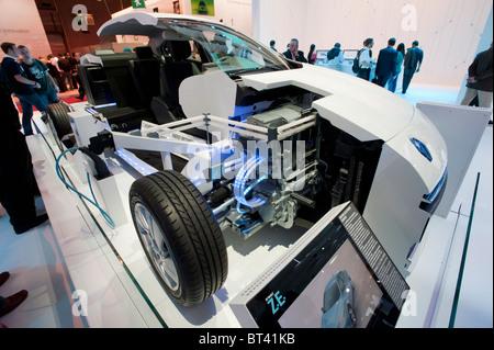 Detail of Renault Fluence ZE electric car at Paris Motor Show 2010 - Stock Photo