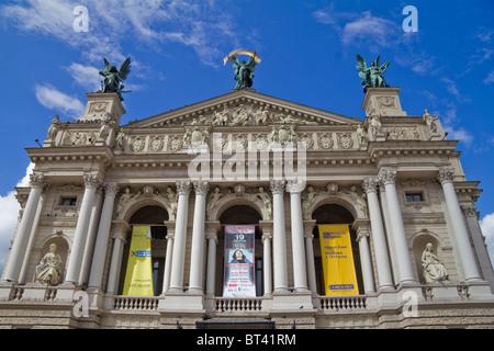 Lviv Opera House on Prospect Svobody Avenue Lviv western Ukraine - Stock Photo