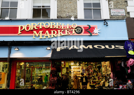 Famous Portobello Market Shop sign, signs, Portobello Road, Notting Hill, London, England, UK - Stock Photo