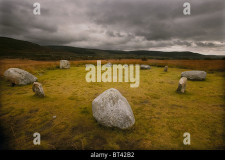 The remains of the Machrie Moor 1 standing stone circle on Machrie Moor, Isle of Arran, Scotland, UK - Stock Photo