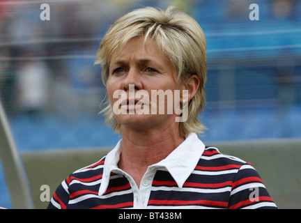 Germany head coach Silvia Neid on the bench prior to a Beijing Olympic Games women's soccer tournament match against - Stock Photo