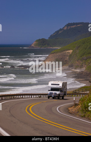 FLORENCE, OREGON, USA - Car traffic on scenic Route 101 on central Oregon coast. - Stock Photo
