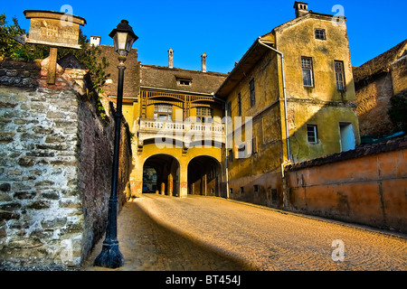 Old Balcony house in the medieval citadel of Sighisoara, Romania. - Stock Photo