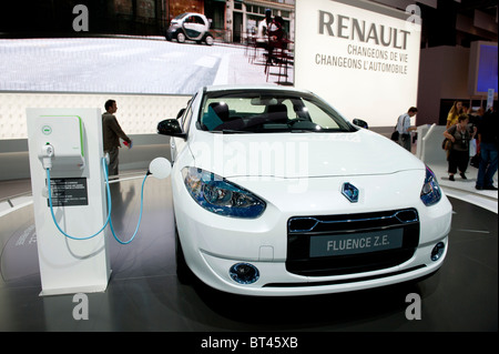 Electric plug in Renault Fluence at Paris Motor Show 2010 - Stock Photo