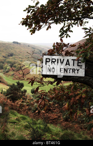 Private No Entry Sign on Exmoor - Stock Photo