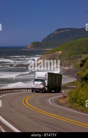 FLORENCE, OREGON, USA - Truck on scenic Route 101 on central Oregon coast. - Stock Photo