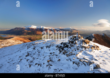 View from Scar Crags towards Skiddaw and Blencathra in winter in the English Lake District - Stock Photo