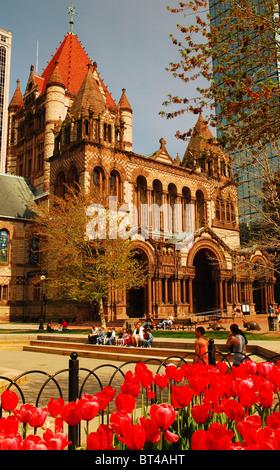 Trinity Church in Copley Square, Boston Massachusetts - Stock Photo