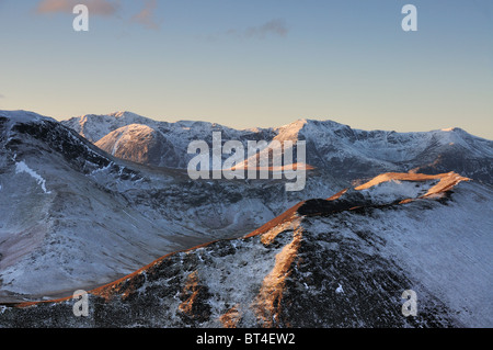 English Lake District mountains in winter. View over Knott Rigg and Robinson towards High Stile, Red Pike and Buttermere - Stock Photo