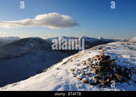 View from Scar Crags towards Robinson and the Buttermere fells in the English Lake District - Stock Photo