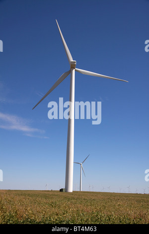 Wind Generation Turbines on farm Indiana USA - Stock Photo