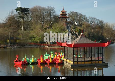 boating lake and pagoda bandstand, Peasholm Park, North Bay, Scarborough, North Yorkshire, England, UK - Stock Photo