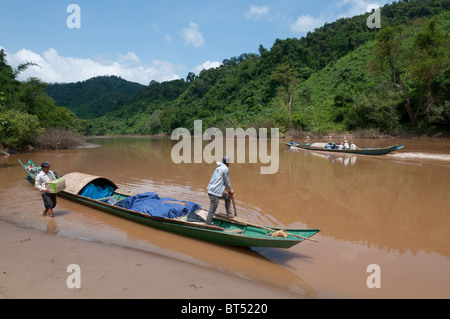Tail Boat Trip along the Nam Tha River from to Paksa to Na Lae. Northern Laos - Stock Photo