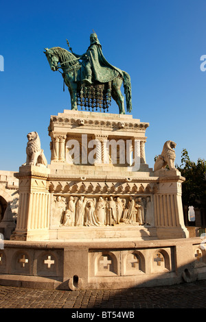 Statue of King Istvan ( Stephan ) - Fisherman's Bastion - Castle District, Budapest, Hungary - Stock Photo