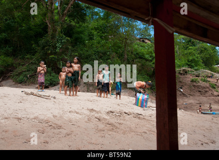 Tail Boat Trip along the Nam Ou River from Hat Sa to Nong Khiaw. Northern Laos - Stock Photo