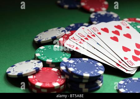 Royal flush poker hand - Stock Photo