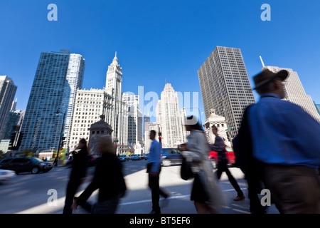 View along N Michigan Ave in Chicago, IL, USA. - Stock Photo