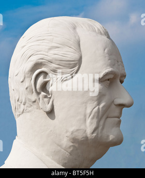 White concrete sculpture of Lyndon B. Johnson (36th US President ) at David Adickes Sculpturworx Studio in Houston, - Stock Photo