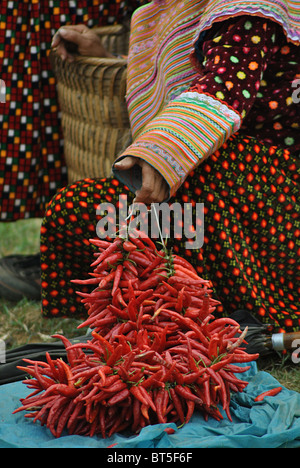 Traditional Flowe Hmong woman selling chillis at Bac Ha market, Vietnam - Stock Photo