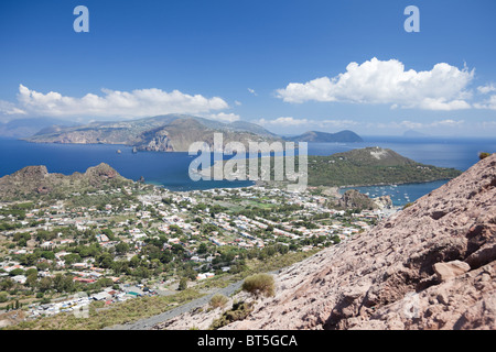 Bird view of the village in Vulcano Island of Aeolian islands. - Stock Photo