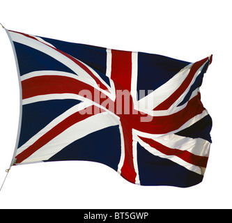 fluttering flag of United Kingdom isolated on white - Stock Photo