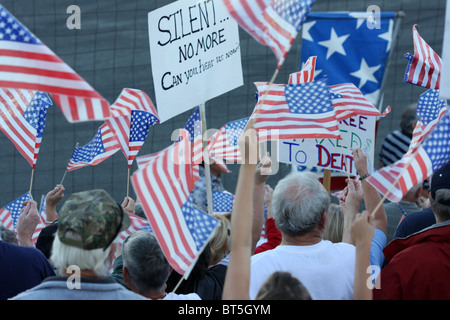 People holding signs and flags, TEA Party rally at Stateline, Idaho, September, 17, 2009. - Stock Photo