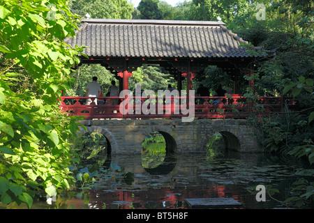 Japanischer Garten im Chemiepark der Bayer AG in Leverkusen, Rhein, Nordrhein-Westfalen - Stock Photo