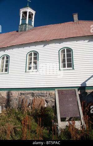 Canada, Labrador, Hopedale (aka Agvituk). Hopedale Mission National Historic Site. Historic Moravian Church. - Stock Photo