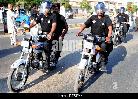 Mujahid Force officials patrol at a road after operationalization ceremony of MF held in Hyderabad on Tuesday, October - Stock Photo