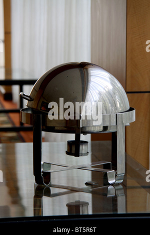 Roll-Top Soup Chafer Food counter at Taj residency Hotel - Stock Photo