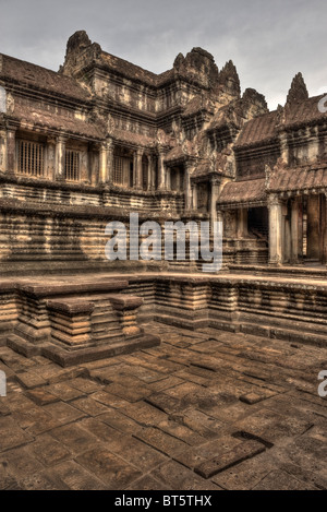 One of the Four Inner Cloisters and Pool in The Hall of a Thousand Buddhas Angkor Wat, Cambodia - Stock Photo